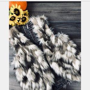 Free people faux fur reversible vest medium